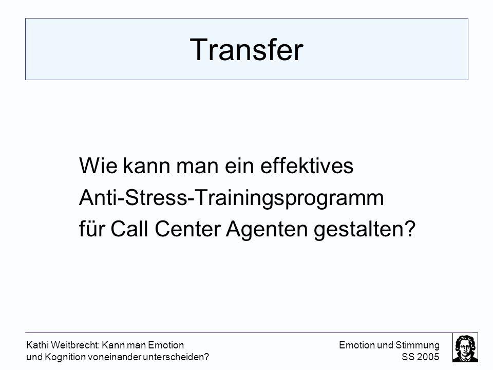 Kathi Weitbrecht: Kann man Emotion und Kognition voneinander unterscheiden? Emotion und Stimmung SS 2005 Transfer Wie kann man ein effektives Anti-Str