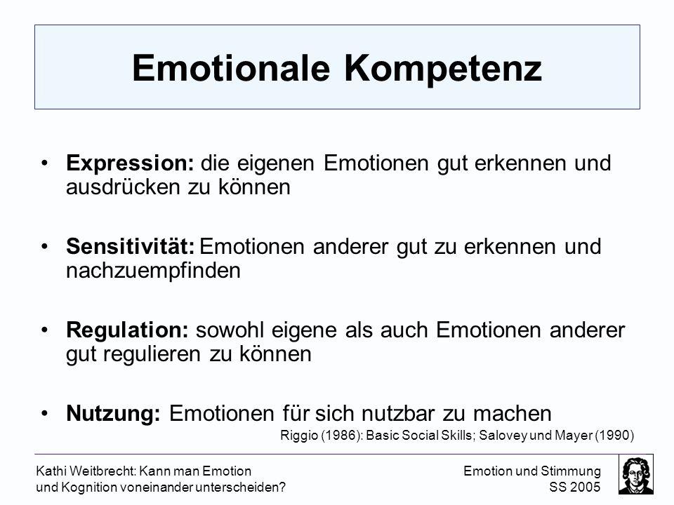 Kathi Weitbrecht: Kann man Emotion und Kognition voneinander unterscheiden? Emotion und Stimmung SS 2005 Emotionale Kompetenz Expression: die eigenen