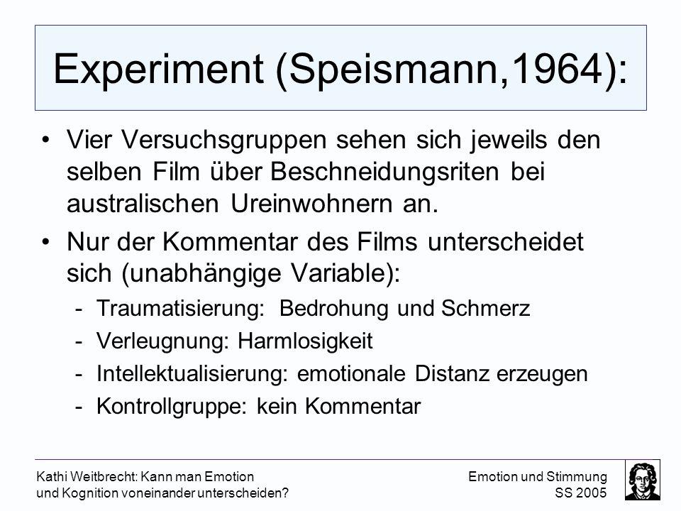 Kathi Weitbrecht: Kann man Emotion und Kognition voneinander unterscheiden? Emotion und Stimmung SS 2005 Experiment (Speismann,1964): Vier Versuchsgru