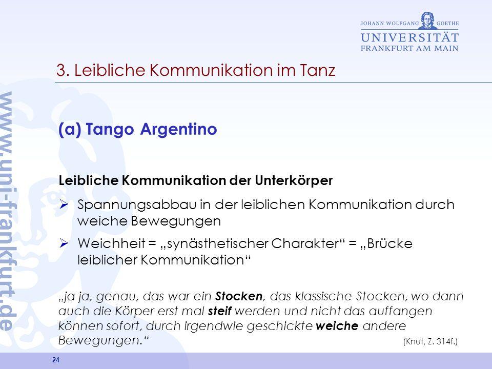 24 3. Leibliche Kommunikation im Tanz (a) Tango Argentino Leibliche Kommunikation der Unterkörper Spannungsabbau in der leiblichen Kommunikation durch