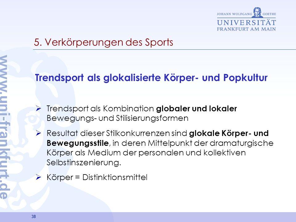 38 5. Verkörperungen des Sports Trendsport als glokalisierte Körper- und Popkultur Trendsport als Kombination globaler und lokaler Bewegungs- und Stil