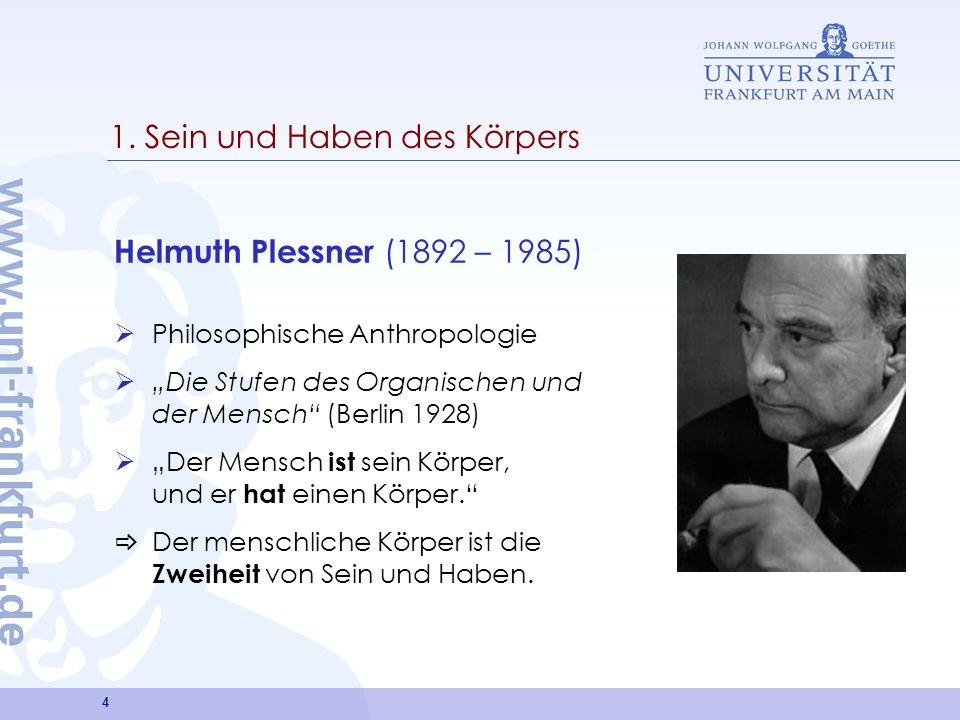 4 1. Sein und Haben des Körpers Helmuth Plessner (1892 – 1985) Philosophische Anthropologie Die Stufen des Organischen und der Mensch (Berlin 1928) De
