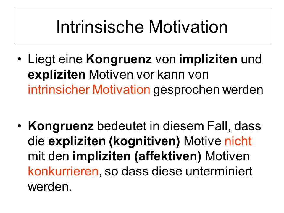 Intrinsische Motivation Liegt eine Kongruenz von impliziten und expliziten Motiven vor kann von intrinsicher Motivation gesprochen werden Kongruenz be