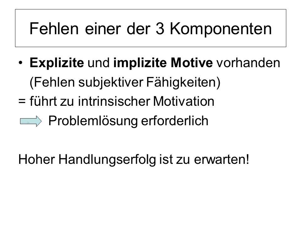 Fehlen einer der 3 Komponenten Explizite und implizite Motive vorhanden (Fehlen subjektiver Fähigkeiten) = führt zu intrinsischer Motivation Problemlö