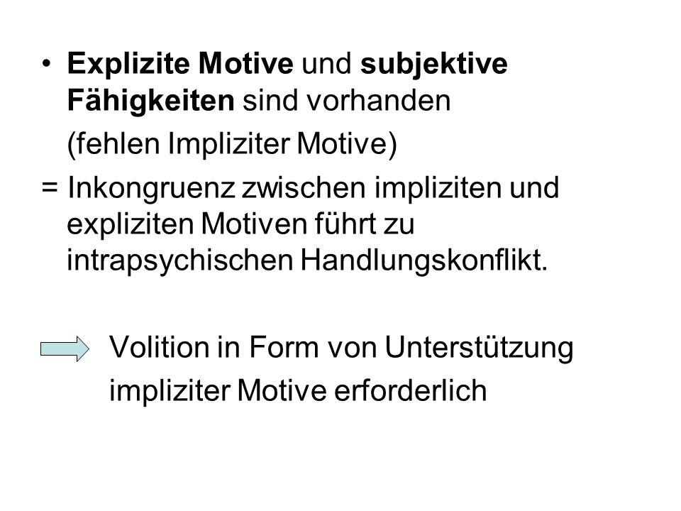 Explizite Motive und subjektive Fähigkeiten sind vorhanden (fehlen Impliziter Motive) = Inkongruenz zwischen impliziten und expliziten Motiven führt z