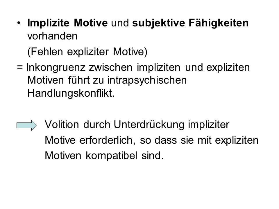 Implizite Motive und subjektive Fähigkeiten vorhanden (Fehlen expliziter Motive) = Inkongruenz zwischen impliziten und expliziten Motiven führt zu int
