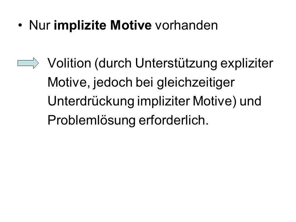 Nur implizite Motive vorhanden Volition (durch Unterstützung expliziter Motive, jedoch bei gleichzeitiger Unterdrückung impliziter Motive) und Problem
