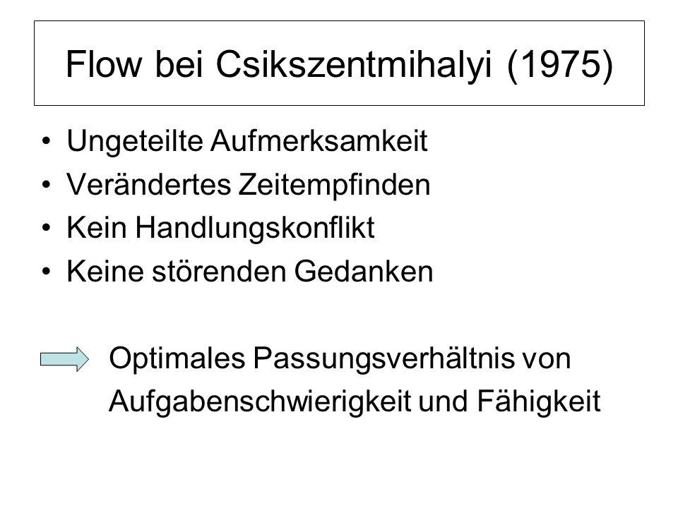 Flow bei Csikszentmihalyi (1975) Ungeteilte Aufmerksamkeit Verändertes Zeitempfinden Kein Handlungskonflikt Keine störenden Gedanken Optimales Passung