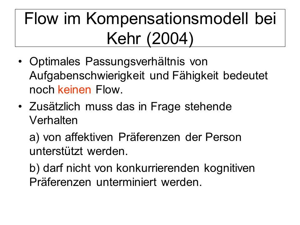Flow im Kompensationsmodell bei Kehr (2004) Optimales Passungsverhältnis von Aufgabenschwierigkeit und Fähigkeit bedeutet noch keinen Flow. Zusätzlich