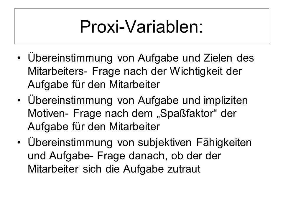 Proxi-Variablen: Übereinstimmung von Aufgabe und Zielen des Mitarbeiters- Frage nach der Wichtigkeit der Aufgabe für den Mitarbeiter Übereinstimmung v