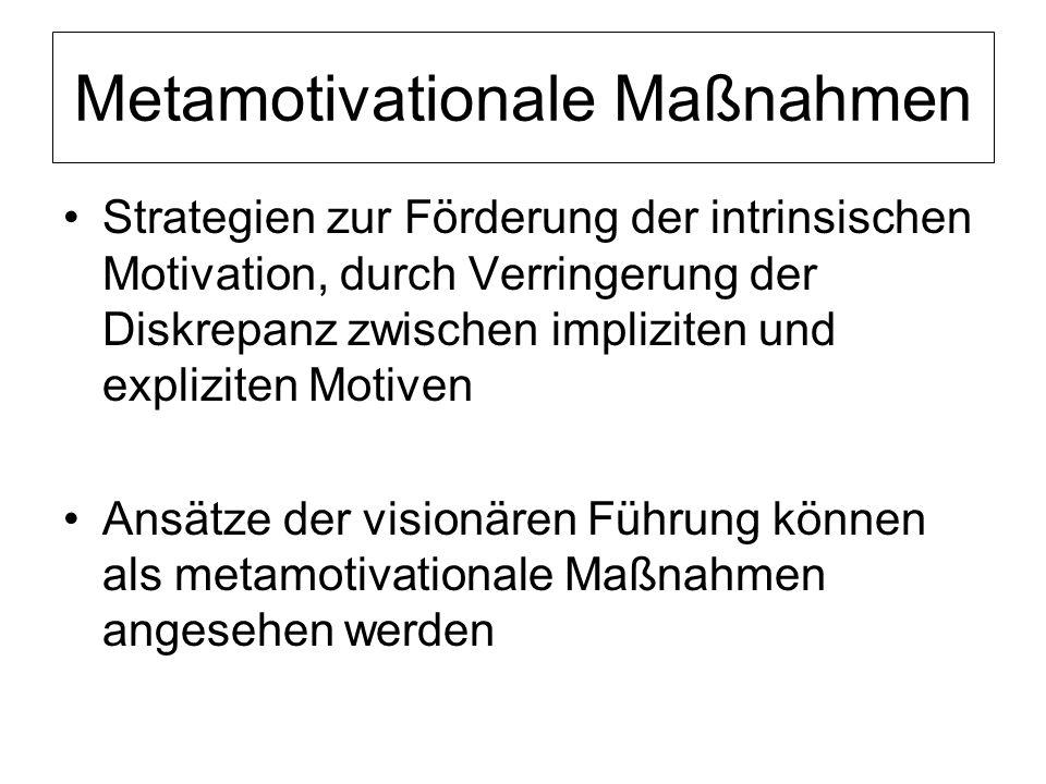 Metamotivationale Maßnahmen Strategien zur Förderung der intrinsischen Motivation, durch Verringerung der Diskrepanz zwischen impliziten und explizite
