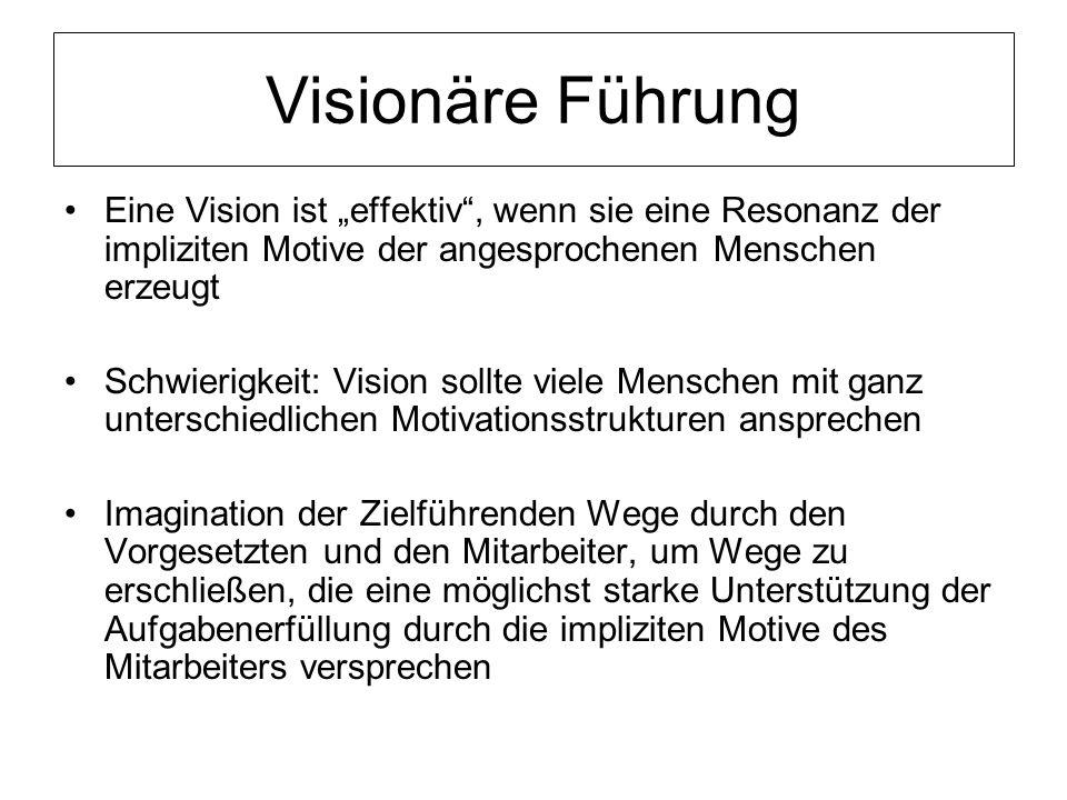 Visionäre Führung Eine Vision ist effektiv, wenn sie eine Resonanz der impliziten Motive der angesprochenen Menschen erzeugt Schwierigkeit: Vision sol