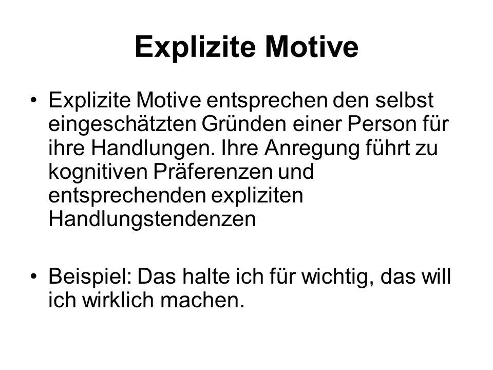 Explizite Motive Explizite Motive entsprechen den selbst eingeschätzten Gründen einer Person für ihre Handlungen. Ihre Anregung führt zu kognitiven Pr