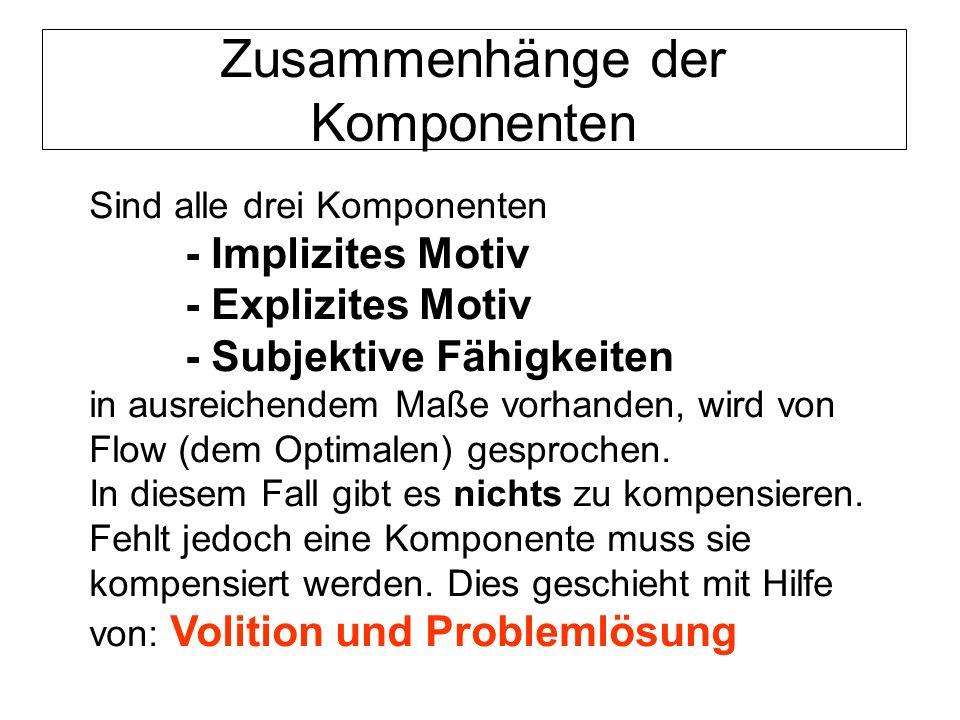 Zusammenhänge der Komponenten Sind alle drei Komponenten - Implizites Motiv - Explizites Motiv - Subjektive Fähigkeiten in ausreichendem Maße vorhande
