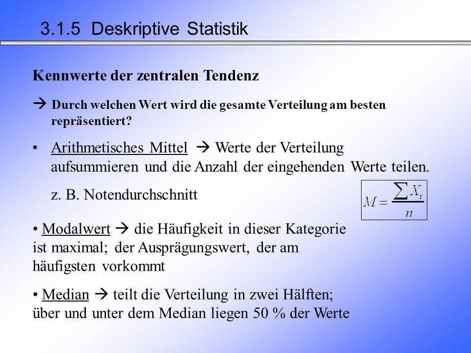 Deskriptiv Statistik= beschreibende Statistik Aufgabe und Zweck - Daten übersichtlich darstellen Tabellen Grafiken - Daten aufbereiten viele Daten durch wenige Kennwerte repräsentieren –Kennwerte der zentralen Tendenz –Kennwerte der Variabilität 3.1.5 Deskriptive Statistik