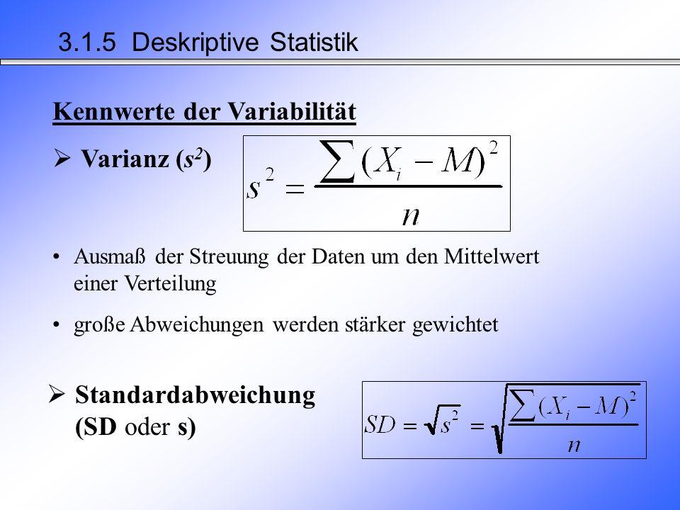 Beschreibung, wie die einzelnen Werte zueinander liegen (Dichte, Form der Verteilung) wie dicht sie am Zentrum (Mittelwert) einer Datenreihe liegen –Variationsbreite (Range) –Varianz (s²) –Standardabweichung (s) Kennwerte der Variabilität 3.1.5 Deskriptive Statistik