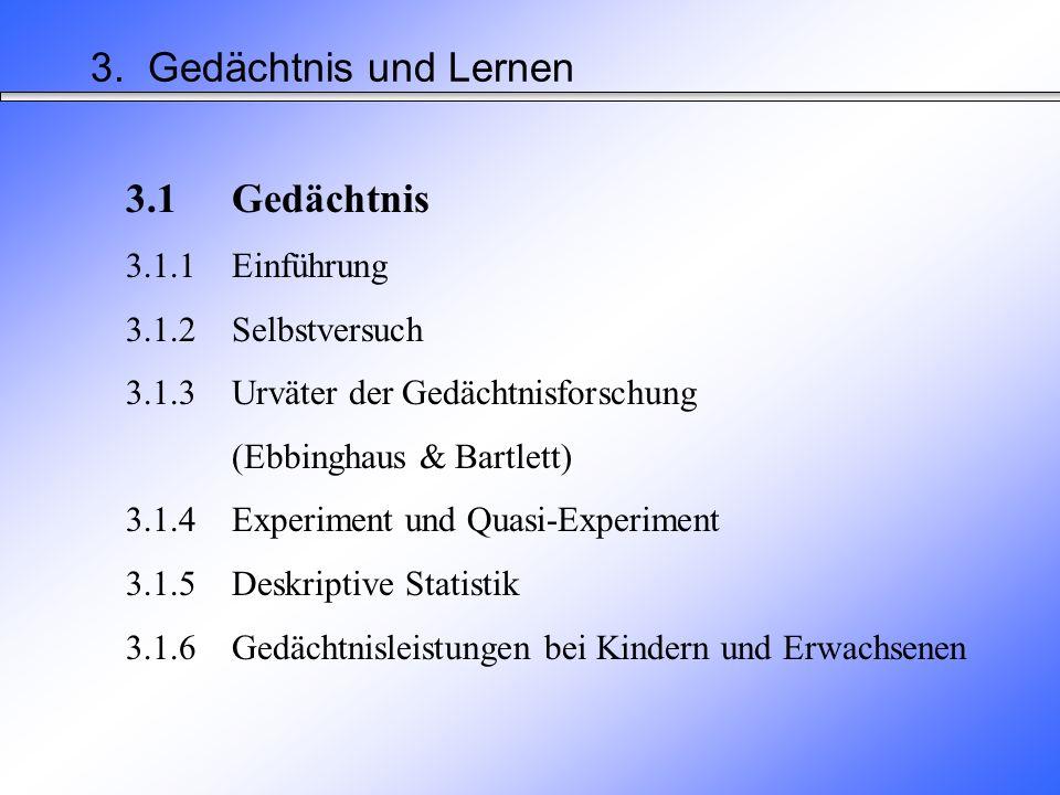 3.Gedächtnis und Lernen Schwerpunkte der Pädagogischen Psychologie