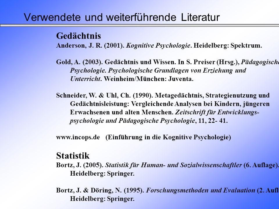 Empirische Untersuchung von Schneider und Uhl (1990) Altersgruppe Merkmal Kinderjüngere Erwachseneältere Erwachsene M (SD) M (SD) M (SD) Gedächtnisleistung 10.91 (2.95)16.80 (2.65)13.48 (3.71) (Anzahl erinnerter Bilder) Semantische Organisation.39 (.35).87 (.20).51 (.43) (Sortieren) Semantische Organisation.32 (.16).82 (.16).51 (.22) (Reproduktion) Ergebnisse 3.1.6 Gedächtnisleistungen bei Kindern u.