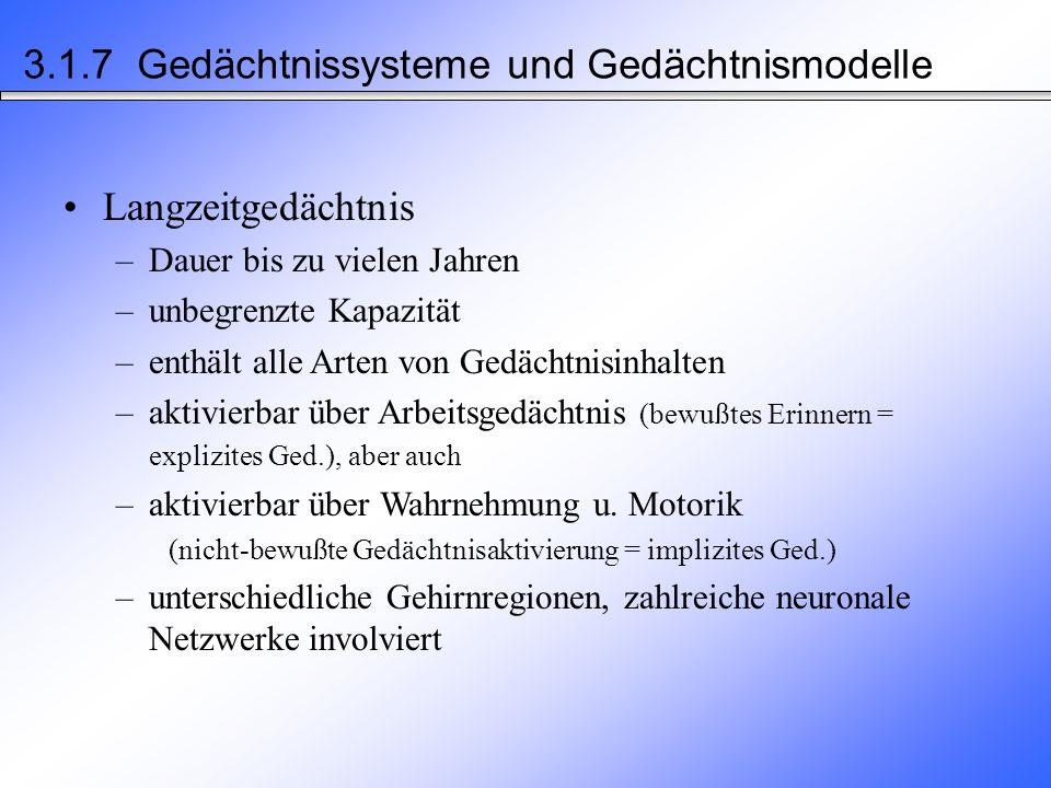 Kurzzeit-Gedächtnis –Behaltensdauer: ca.