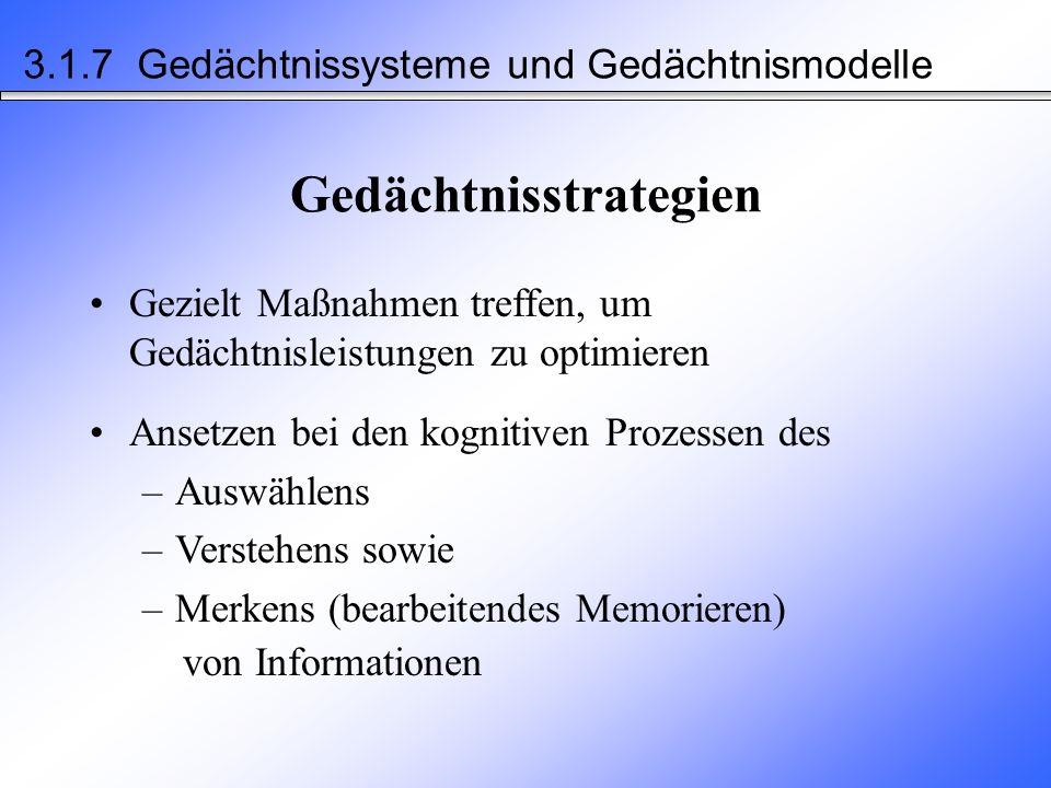 nicht-deklaratives Gedächtnis (implizit) –Fertigkeiten, Handlungen (Wissen, wie man x tut) –prozedurales Ged.