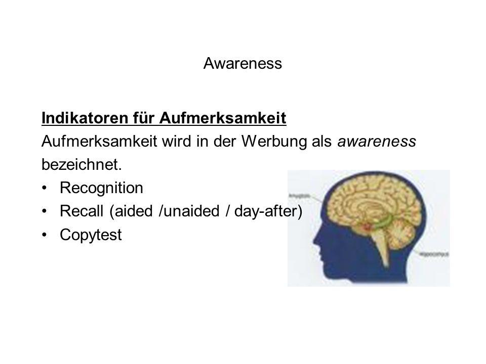 Awareness Indikatoren für Aufmerksamkeit Aufmerksamkeit wird in der Werbung als awareness bezeichnet. Recognition Recall (aided /unaided / day-after)