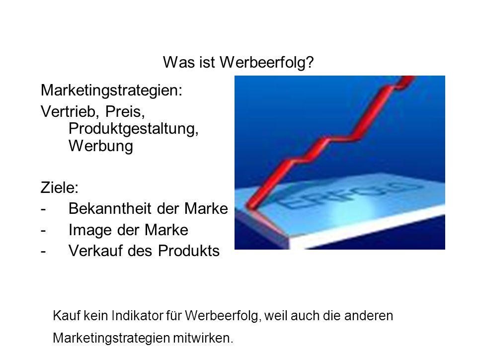 Was ist Werbeerfolg? Marketingstrategien: Vertrieb, Preis, Produktgestaltung, Werbung Ziele: -Bekanntheit der Marke -Image der Marke -Verkauf des Prod