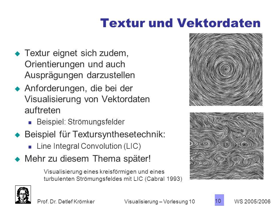 Prof. Dr. Detlef Krömker WS 2005/2006 10 Visualisierung – Vorlesung 10 Textur und Vektordaten Textur eignet sich zudem, Orientierungen und auch Ausprä