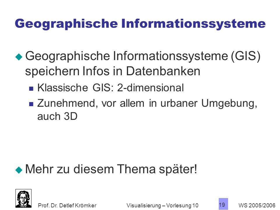 Prof. Dr. Detlef Krömker WS 2005/2006 19 Visualisierung – Vorlesung 10 Geographische Informationssysteme Geographische Informationssysteme (GIS) speic