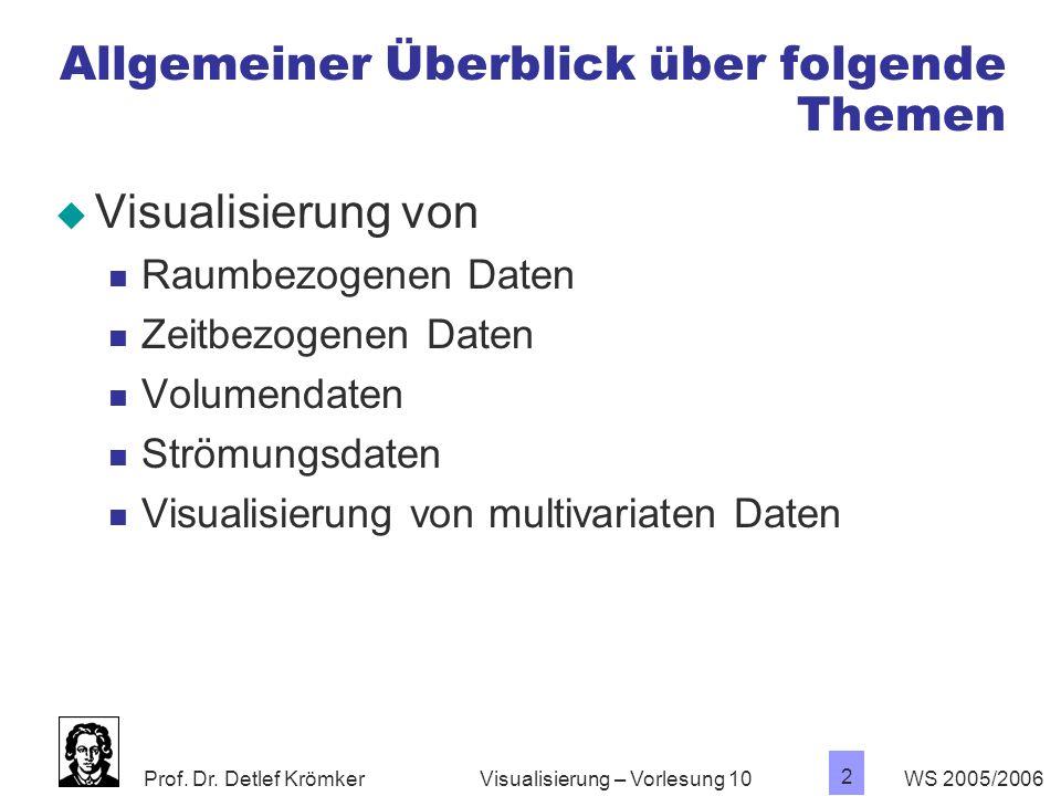 Prof. Dr. Detlef Krömker WS 2005/2006 2 Visualisierung – Vorlesung 10 Allgemeiner Überblick über folgende Themen Visualisierung von Raumbezogenen Date