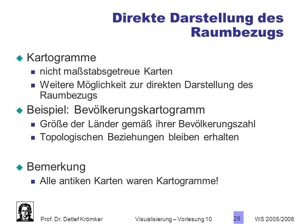 Prof. Dr. Detlef Krömker WS 2005/2006 26 Visualisierung – Vorlesung 10 Direkte Darstellung des Raumbezugs Kartogramme nicht maßstabsgetreue Karten Wei