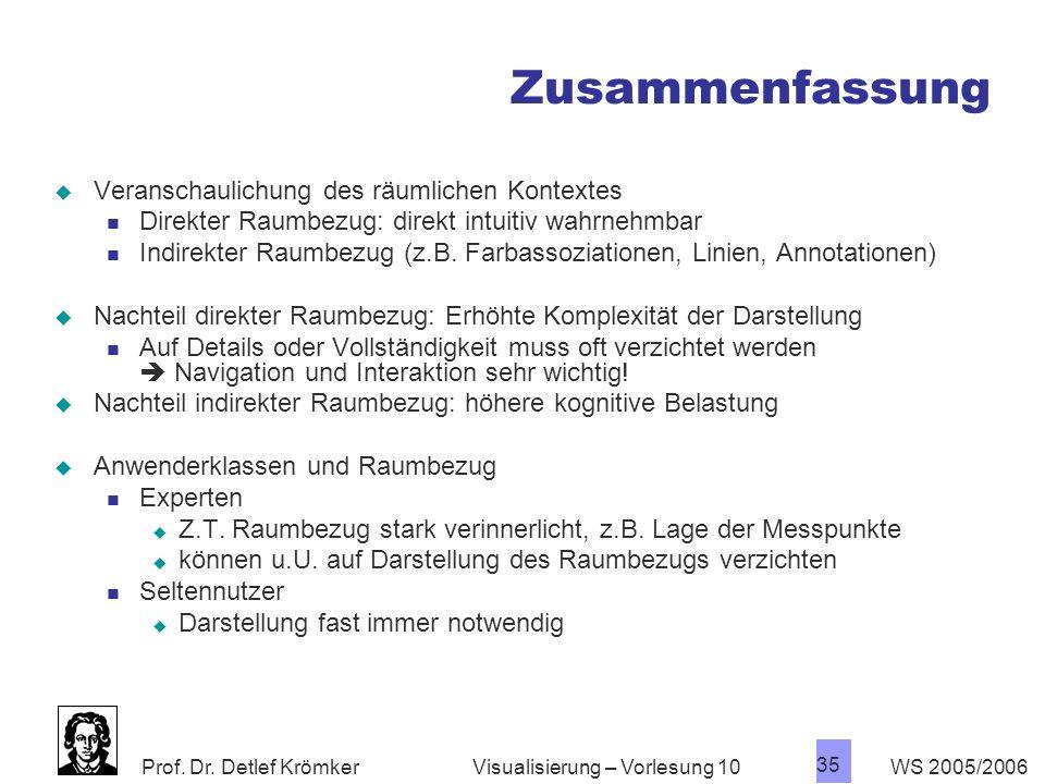 Prof. Dr. Detlef Krömker WS 2005/2006 35 Visualisierung – Vorlesung 10 Zusammenfassung Veranschaulichung des räumlichen Kontextes Direkter Raumbezug: