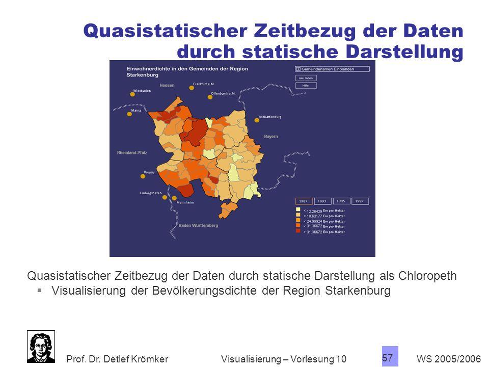 Prof. Dr. Detlef Krömker WS 2005/2006 57 Visualisierung – Vorlesung 10 Quasistatischer Zeitbezug der Daten durch statische Darstellung Quasistatischer