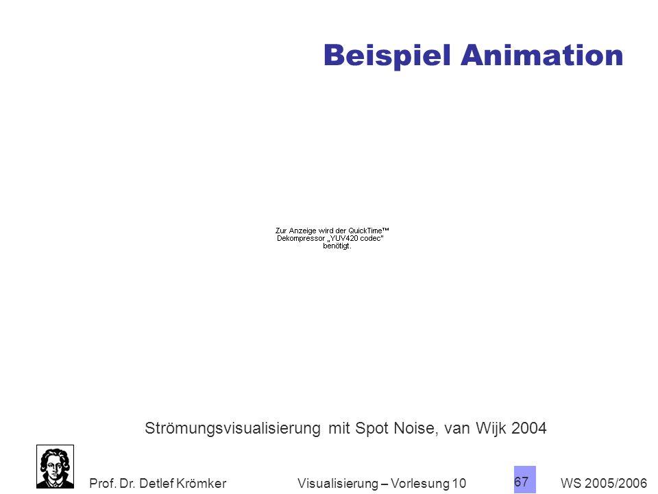 Prof. Dr. Detlef Krömker WS 2005/2006 67 Visualisierung – Vorlesung 10 Beispiel Animation Strömungsvisualisierung mit Spot Noise, van Wijk 2004