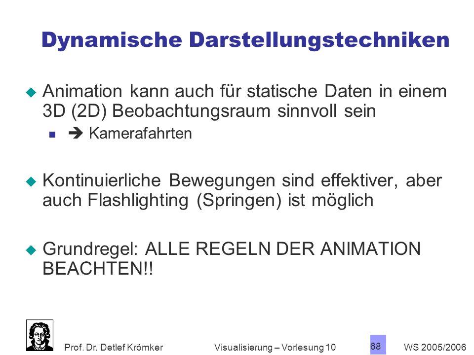Prof. Dr. Detlef Krömker WS 2005/2006 68 Visualisierung – Vorlesung 10 Dynamische Darstellungstechniken Animation kann auch für statische Daten in ein