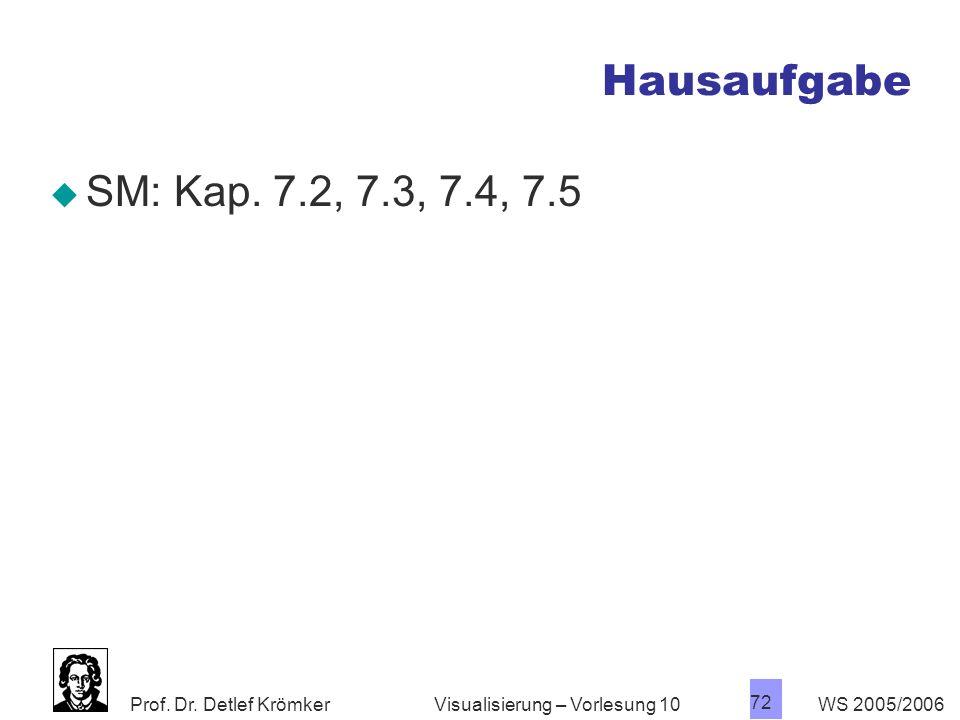 Prof. Dr. Detlef Krömker WS 2005/2006 72 Visualisierung – Vorlesung 10 Hausaufgabe SM: Kap. 7.2, 7.3, 7.4, 7.5
