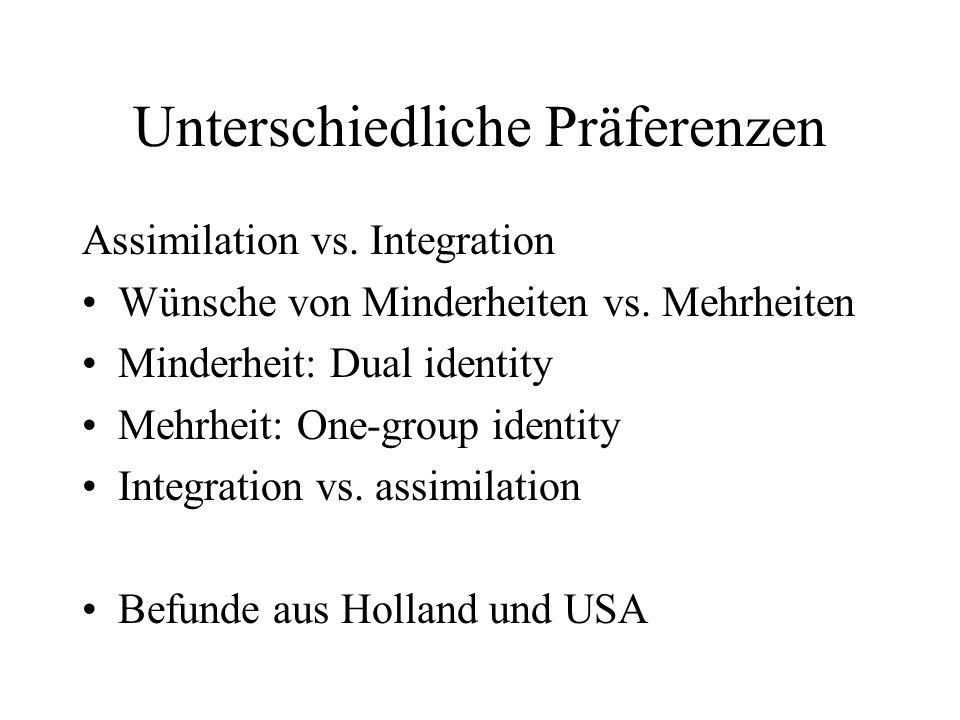 Unterschiedliche Präferenzen Assimilation vs. Integration Wünsche von Minderheiten vs. Mehrheiten Minderheit: Dual identity Mehrheit: One-group identi