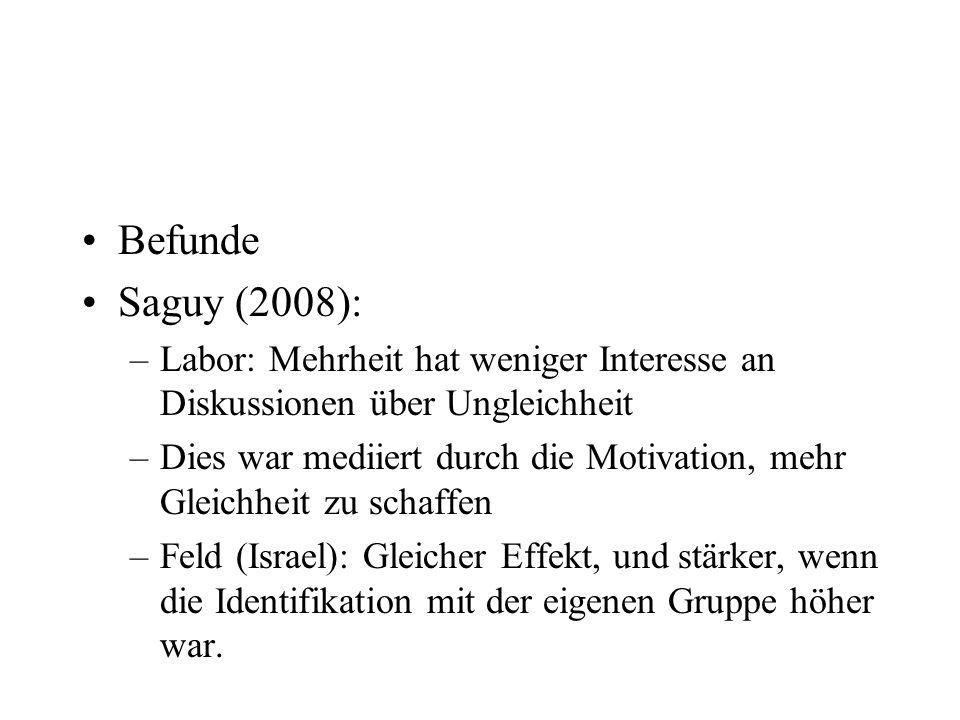 Befunde Saguy (2008): –Labor: Mehrheit hat weniger Interesse an Diskussionen über Ungleichheit –Dies war mediiert durch die Motivation, mehr Gleichhei