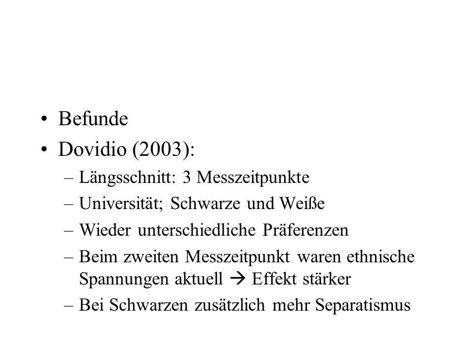 Befunde Dovidio (2003): –Längsschnitt: 3 Messzeitpunkte –Universität; Schwarze und Weiße –Wieder unterschiedliche Präferenzen –Beim zweiten Messzeitpu