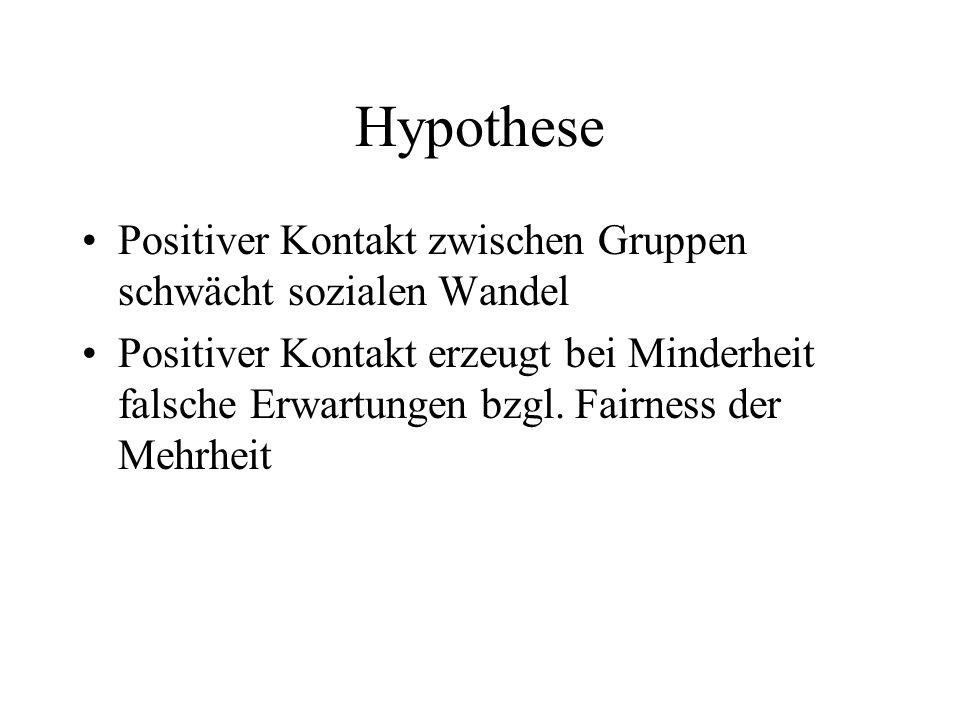 Hypothese Positiver Kontakt zwischen Gruppen schwächt sozialen Wandel Positiver Kontakt erzeugt bei Minderheit falsche Erwartungen bzgl. Fairness der