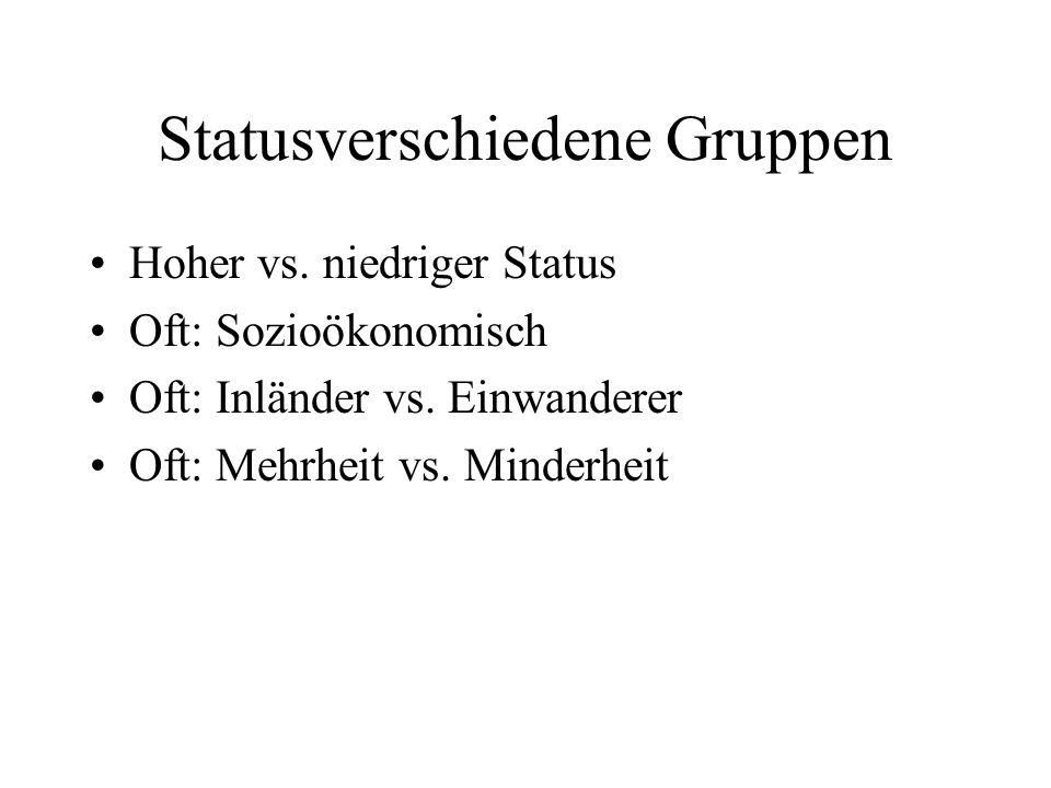 Statusverschiedene Gruppen Hoher vs. niedriger Status Oft: Sozioökonomisch Oft: Inländer vs. Einwanderer Oft: Mehrheit vs. Minderheit