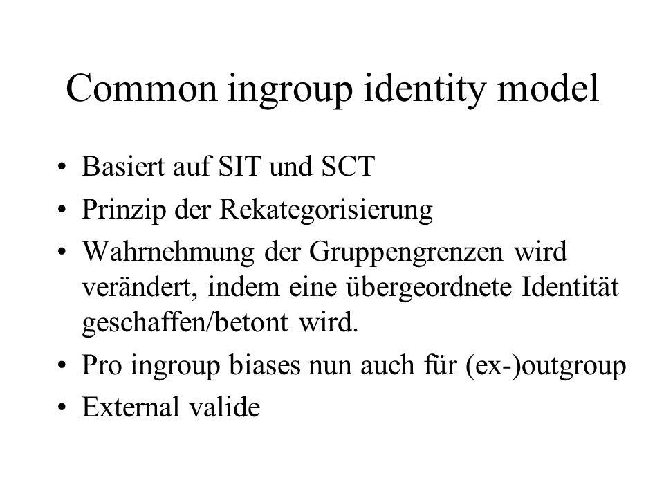 Common ingroup identity model Basiert auf SIT und SCT Prinzip der Rekategorisierung Wahrnehmung der Gruppengrenzen wird verändert, indem eine übergeor