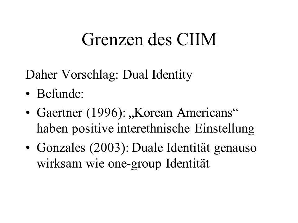 Grenzen des CIIM Daher Vorschlag: Dual Identity Befunde: Gaertner (1996): Korean Americans haben positive interethnische Einstellung Gonzales (2003):