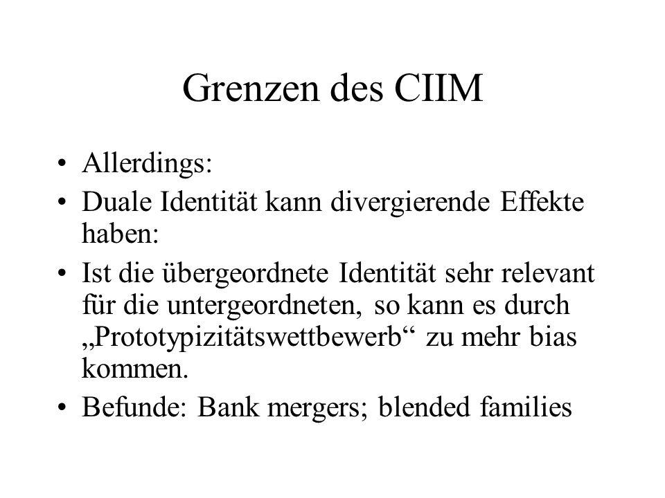 Grenzen des CIIM Allerdings: Duale Identität kann divergierende Effekte haben: Ist die übergeordnete Identität sehr relevant für die untergeordneten,