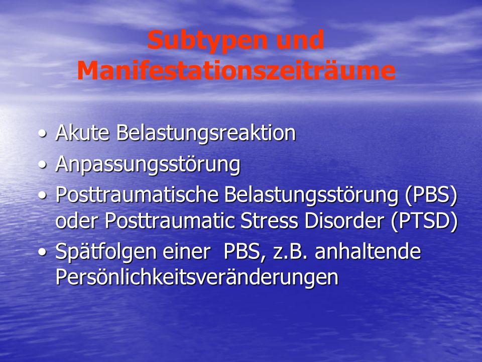 Subtypen und Manifestationszeiträume Akute BelastungsreaktionAkute Belastungsreaktion AnpassungsstörungAnpassungsstörung Posttraumatische Belastungsst