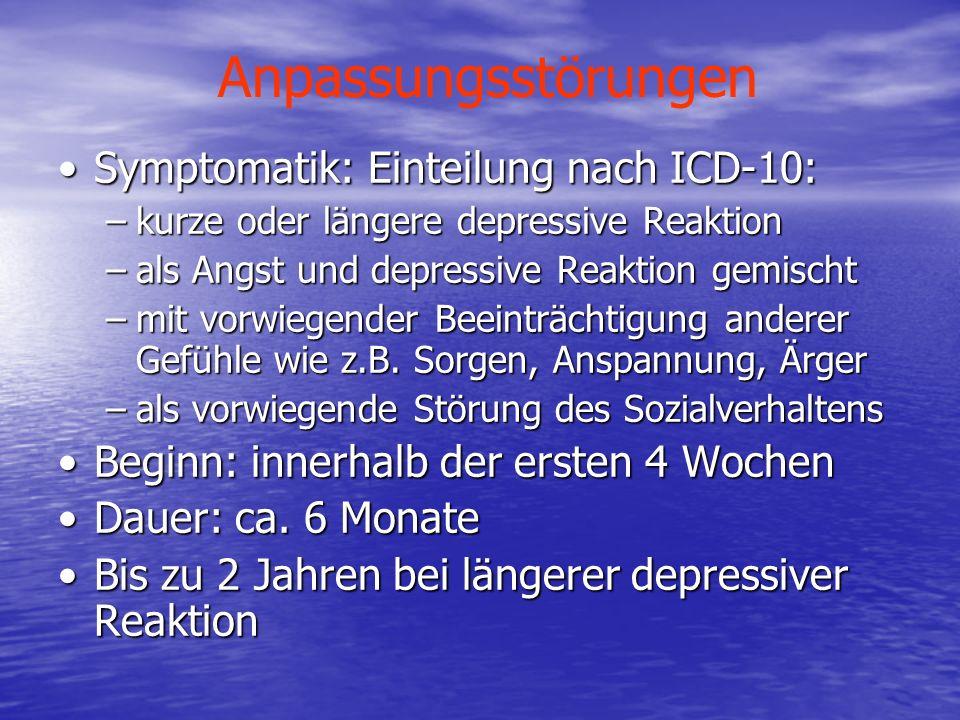 Anpassungsstörungen Symptomatik: Einteilung nach ICD-10:Symptomatik: Einteilung nach ICD-10: –kurze oder längere depressive Reaktion –als Angst und de