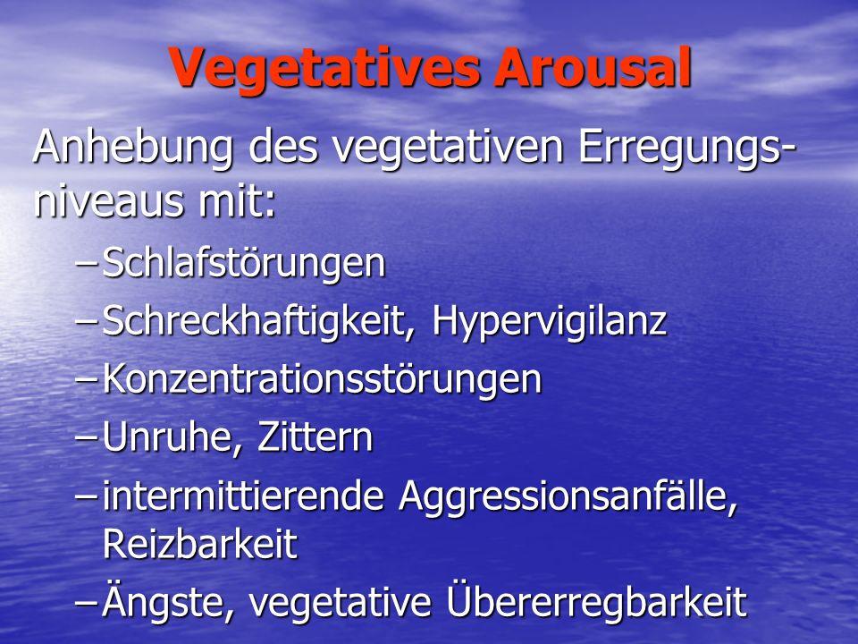 Vegetatives Arousal Anhebung des vegetativen Erregungs- niveaus mit: –Schlafstörungen –Schreckhaftigkeit, Hypervigilanz –Konzentrationsstörungen –Unru