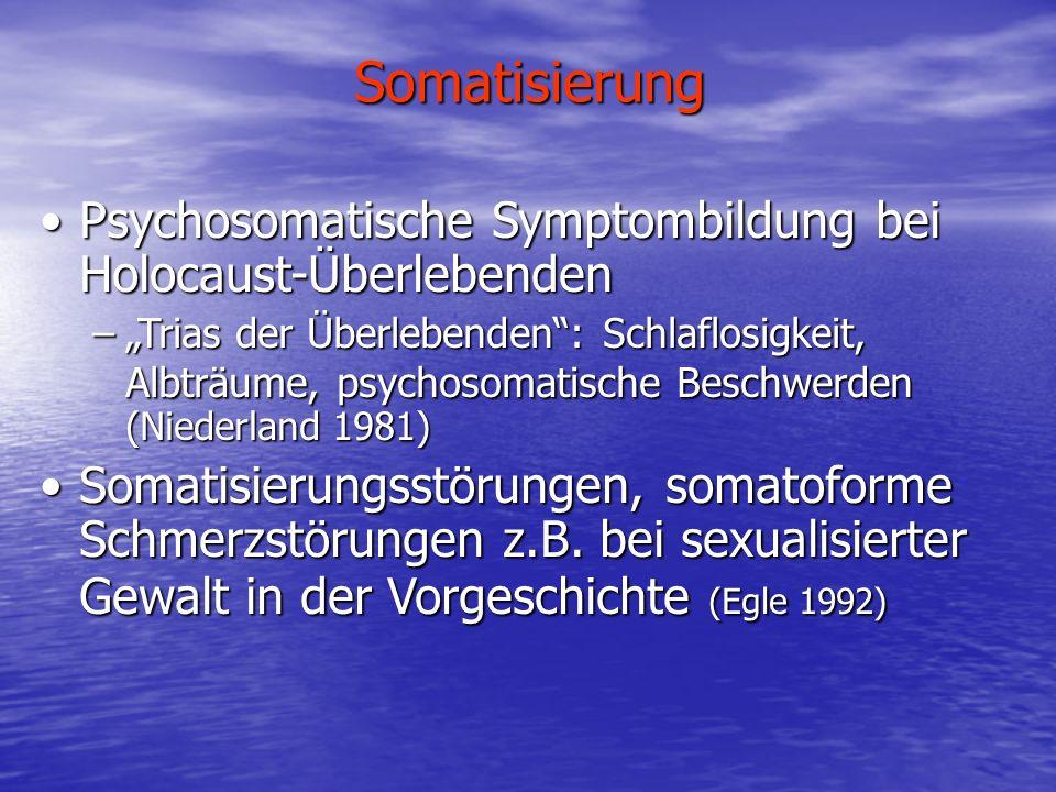 Somatisierung Psychosomatische Symptombildung bei Holocaust-ÜberlebendenPsychosomatische Symptombildung bei Holocaust-Überlebenden –Trias der Überlebe
