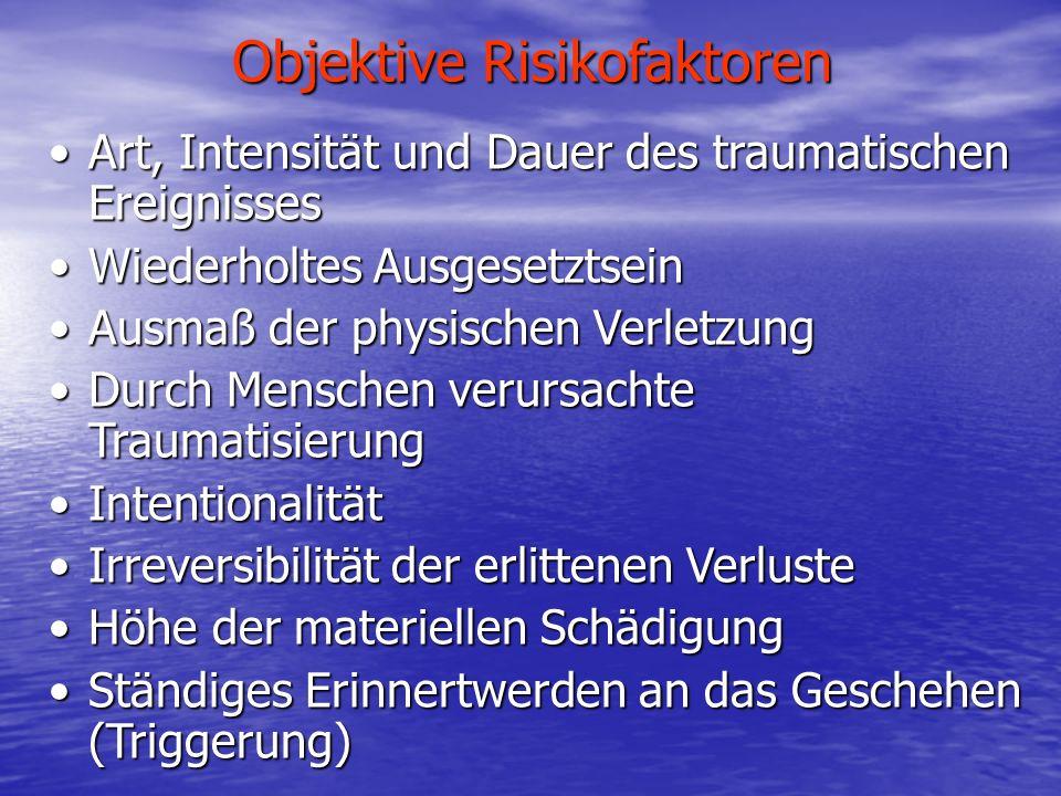Objektive Risikofaktoren Art, Intensität und Dauer des traumatischen EreignissesArt, Intensität und Dauer des traumatischen Ereignisses Wiederholtes A