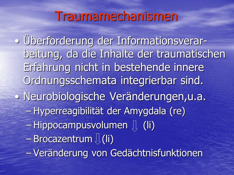 Traumamechanismen Überforderung der Informationsverar- beitung, da die Inhalte der traumatischen Erfahrung nicht in bestehende innere Ordnungsschemata