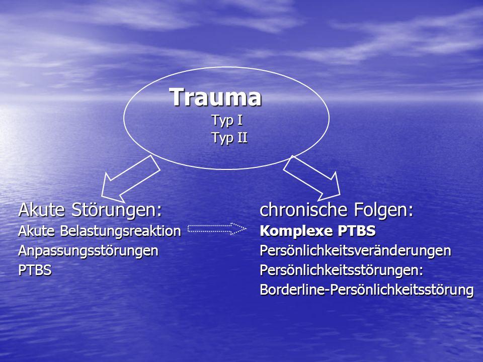 Trauma Trauma Typ I Typ II Akute Störungen: chronische Folgen: Akute BelastungsreaktionKomplexe PTBS AnpassungsstörungenPersönlichkeitsveränderungen P